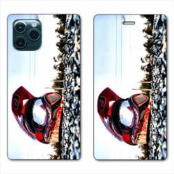 "RV Housse cuir portefeuille Iphone 11 Pro (6,1"") Moto Casque Cross"