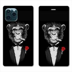 "RV Housse cuir portefeuille Iphone 11 Pro (6,1"") Decale Singe Mafia"