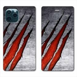"RV Housse cuir portefeuille Iphone 11 Pro (6,1"") Texture beton"
