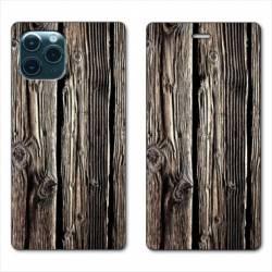 """RV Housse cuir portefeuille Iphone 11 Pro (6,1"""") Texture bois"""