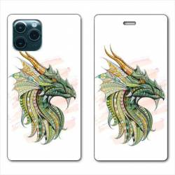 "RV Housse cuir portefeuille Iphone 11 Pro (6,1"") Ethniques Dragon Color"
