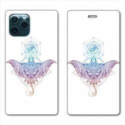 "RV Housse cuir portefeuille Iphone 11 Pro (6,1"") Animaux Maori Raie color"