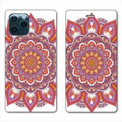 """RV Housse cuir portefeuille Iphone 11 Pro (6,1"""") Etnic abstrait Rosas orange"""