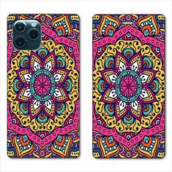 "RV Housse cuir portefeuille Iphone 11 Pro (6,1"") Etnic abstrait Rosas rose"