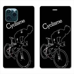 "RV Housse cuir portefeuille Iphone 11 Pro (6,1"") Cyclisme Ombre blanche"