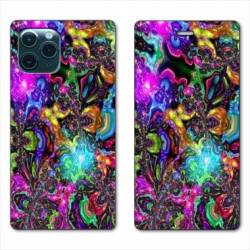 "RV Housse cuir portefeuille Iphone 11 Pro (6,1"") Psychedelic colore"
