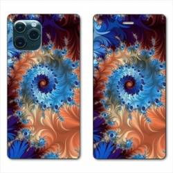 "RV Housse cuir portefeuille Iphone 11 Pro (6,1"") Psychedelic Spirale"