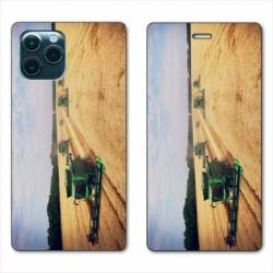 """RV Housse cuir portefeuille Iphone 11 Pro (6,1"""") Agriculture Moissonneuse"""