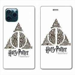 """RV Housse cuir portefeuille Iphone 11 Pro (6,1"""") WB License harry potter pattern triangle Blanc"""