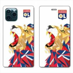 "RV Housse cuir portefeuille Iphone 11 Pro (6,1"") License Olympique Lyonnais OL - lion color"