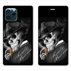"RV Housse cuir portefeuille Iphone 11 Pro Max (6,5"") tete de mort family business"