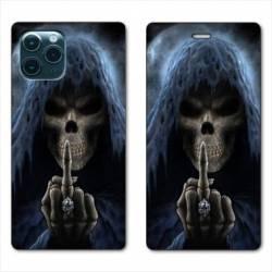 """RV Housse cuir portefeuille Iphone 11 Pro Max (6,5"""") tete de mort Doigt"""