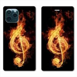 """RV Housse cuir portefeuille Iphone 11 Pro Max (6,5"""") Musique clé sol feu"""