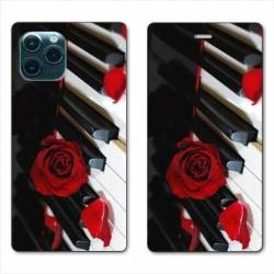 "RV Housse cuir portefeuille Iphone 11 Pro Max (6,5"") Musique Rose Piano"