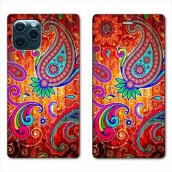 "RV Housse cuir portefeuille Iphone 11 Pro Max (6,5"") fleur psychedelic"