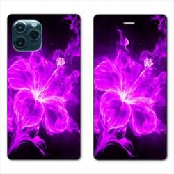 "RV Housse cuir portefeuille Iphone 11 Pro Max (6,5"") fleur hibiscus violet"