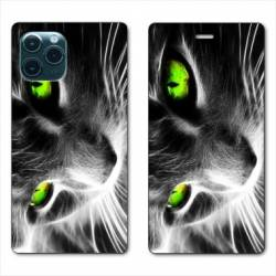 "RV Housse cuir portefeuille Iphone 11 Pro Max (6,5"") Chat Vert"