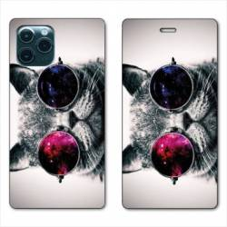 "RV Housse cuir portefeuille Iphone 11 Pro Max (6,5"") Chat Fashion"