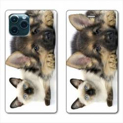 "RV Housse cuir portefeuille Iphone 11 Pro Max (6,5"") Chien vs chat"