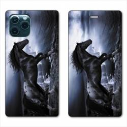 "RV Housse cuir portefeuille Iphone 11 Pro Max (6,5"") Cheval"