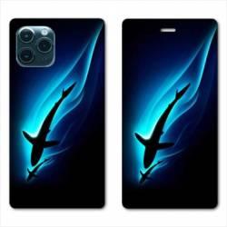 """RV Housse cuir portefeuille Iphone 11 Pro Max (6,5"""") Requin Noir"""