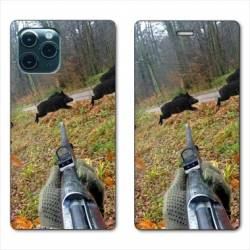 """RV Housse cuir portefeuille Iphone 11 Pro Max (6,5"""") chasse Vision Tir"""