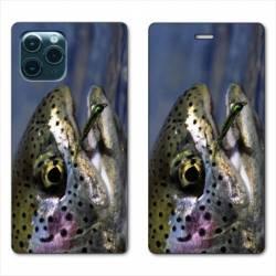 "RV Housse cuir portefeuille Iphone 11 Pro Max (6,5"") peche truite"