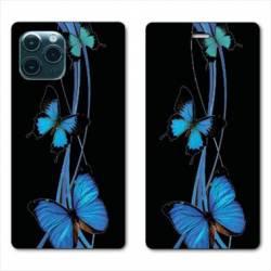 "RV Housse cuir portefeuille Iphone 11 Pro Max (6,5"") papillons bleu"