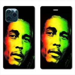 "RV Housse cuir portefeuille Iphone 11 Pro Max (6,5"") Bob Marley 2"