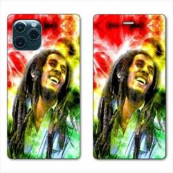 "RV Housse cuir portefeuille Iphone 11 Pro Max (6,5"") Bob Marley Color"