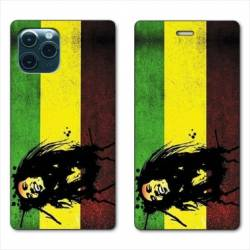 "RV Housse cuir portefeuille Iphone 11 Pro Max (6,5"") Bob Marley Drapeau"