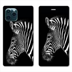 "RV Housse cuir portefeuille Iphone 11 Pro Max (6,5"") savane Zebra"