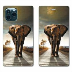 "RV Housse cuir portefeuille Iphone 11 Pro Max (6,5"") savane Elephant route"