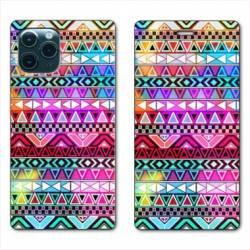 """RV Housse cuir portefeuille Iphone 11 Pro Max (6,5"""") motifs Aztec azteque rouge"""