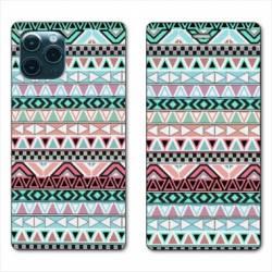 "RV Housse cuir portefeuille Iphone 11 Pro Max (6,5"") motifs Aztec azteque turquoise"