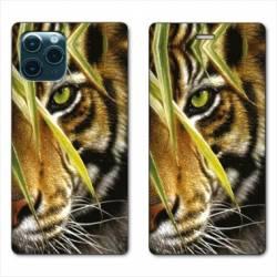 "RV Housse cuir portefeuille Iphone 11 Pro Max (6,5"") œil tigre"