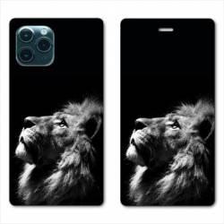 "RV Housse cuir portefeuille Iphone 11 Pro Max (6,5"") roi lion"