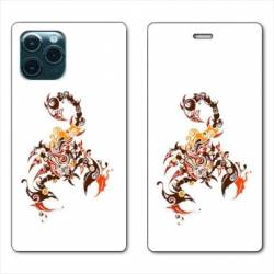 "RV Housse cuir portefeuille Iphone 11 Pro Max (6,5"") scorpion"