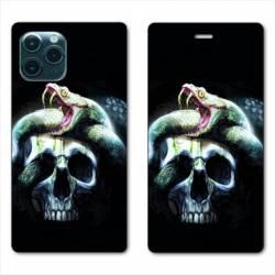 "RV Housse cuir portefeuille Iphone 11 Pro Max (6,5"") serpent crane"