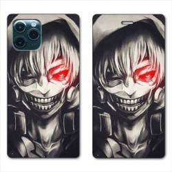 "RV Housse cuir portefeuille Iphone 11 Pro Max (6,5"") Manga kaneki"