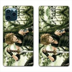 "RV Housse cuir portefeuille Iphone 11 Pro Max (6,5"") Manga bois"