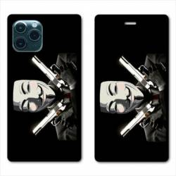 "RV Housse cuir portefeuille Iphone 11 Pro Max (6,5"") Anonymous Gun"