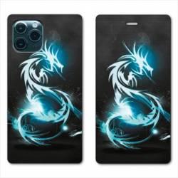 "RV Housse cuir portefeuille Iphone 11 Pro Max (6,5"") Dragon Bleu"