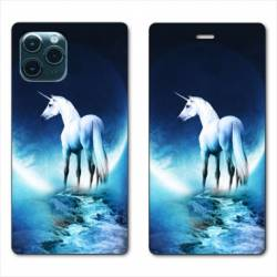 "RV Housse cuir portefeuille Iphone 11 Pro Max (6,5"") Licorne Lune"
