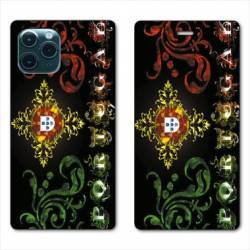 "RV Housse cuir portefeuille Iphone 11 Pro Max (6,5"") Portugal Arabesque"