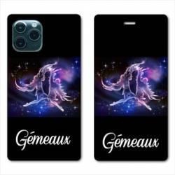 """RV Housse cuir portefeuille Iphone 11 Pro Max (6,5"""") signe zodiaque Gémeaux2"""