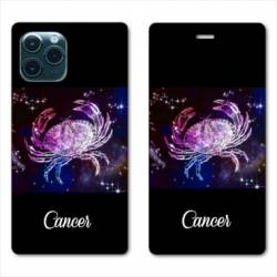 "RV Housse cuir portefeuille Iphone 11 Pro Max (6,5"") signe zodiaque Cancer2"
