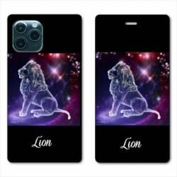 """RV Housse cuir portefeuille Iphone 11 Pro Max (6,5"""") signe zodiaque Lion2"""