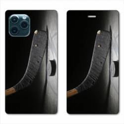 "RV Housse cuir portefeuille Iphone 11 Pro Max (6,5"") Hockey palet"