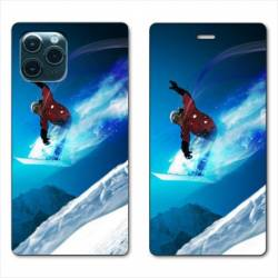 "RV Housse cuir portefeuille Iphone 11 Pro Max (6,5"") Snowboard saut"
